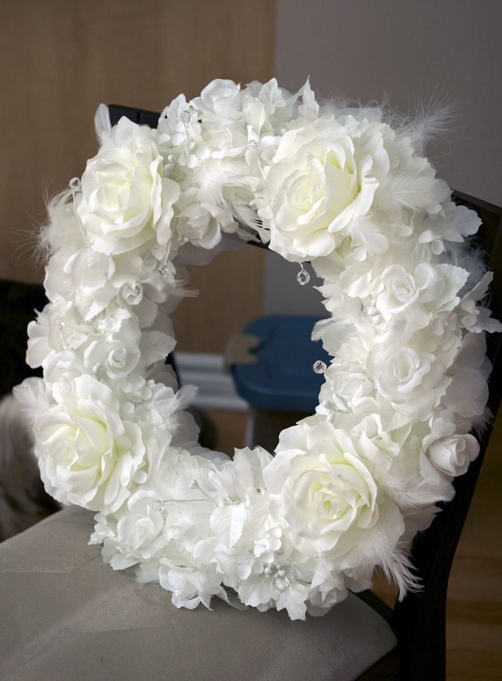 Diy wreath white wedding decor april uc pinterest