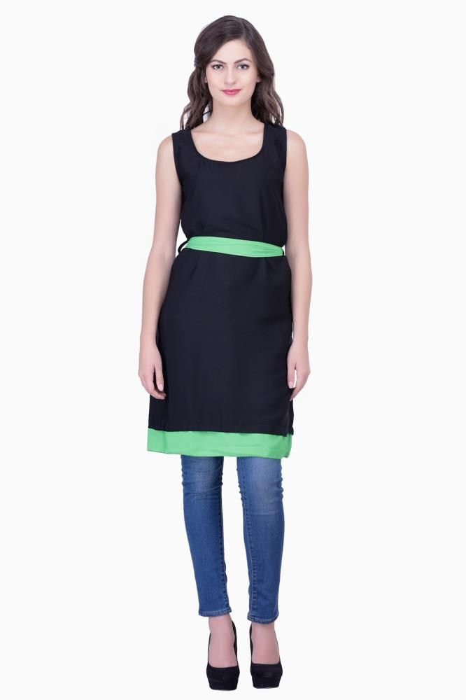Buy Solid Black color with Green color Womens Party Wear Beachwear ...