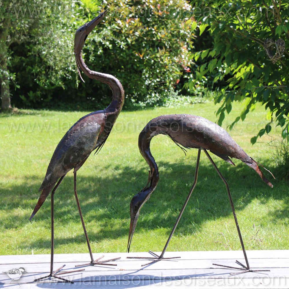 Couple heron sculptures en metal recycl lamaisondesoiseaux d co m tal sculpture metal et - Oiseaux metal pour jardin ...