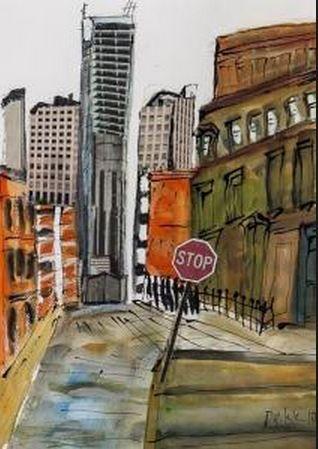 London street scene by Dorrit Dekk b 1917