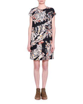 Cap-Sleeve Cat-Print Shift Dress, Black by Stella McCartney at Neiman Marcus.