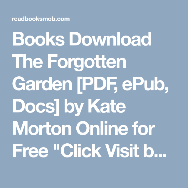 The Forgotten Garden Pdf