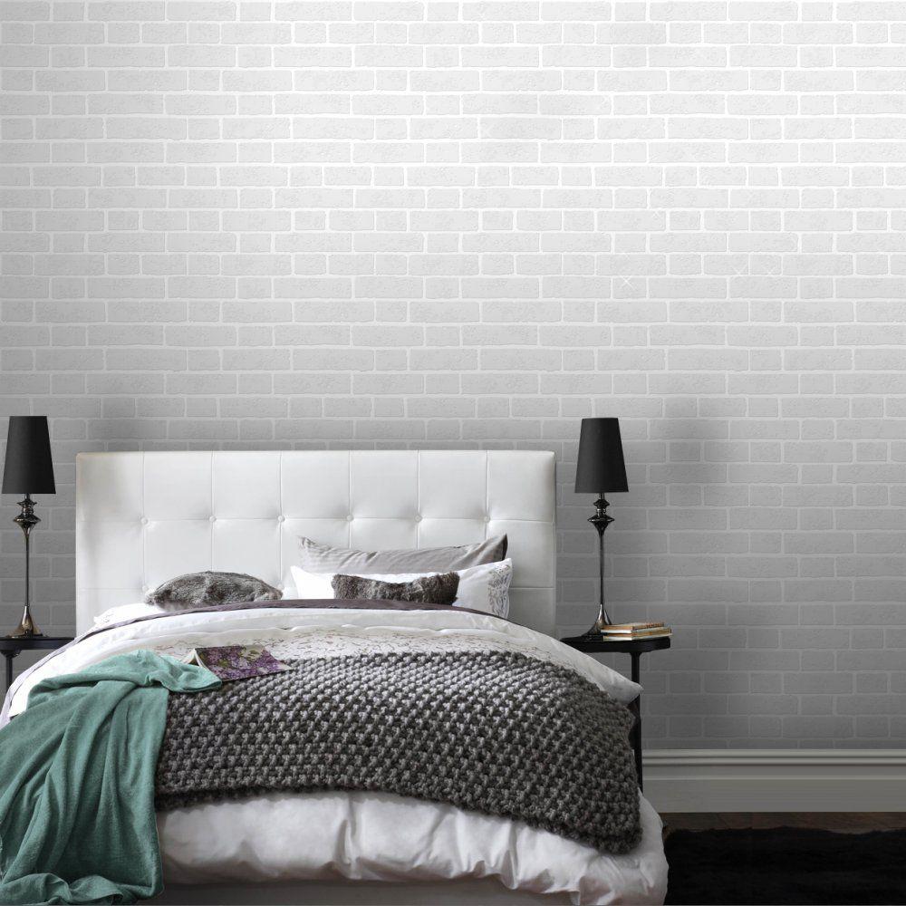 Paintable White Brick Effect Wallpaper White brick