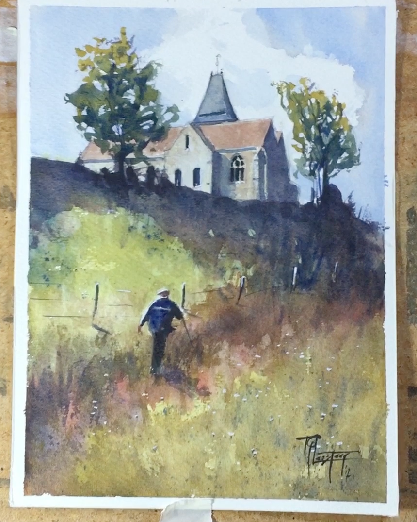 90 minutes of #painting in 55 seconds. 10 minute version on my YouTube channel. #Varengeville is a beautiful place at the coast of #Normandy #watercolour #landscape #demo #demonstration