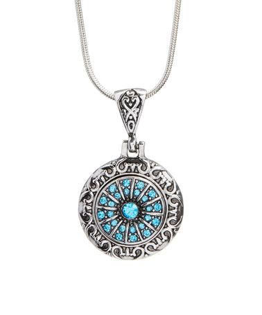 Loving this Blue Crystal & Silvertone Fireworks Snap-Charm Erin Necklace on #zulily! #zulilyfinds