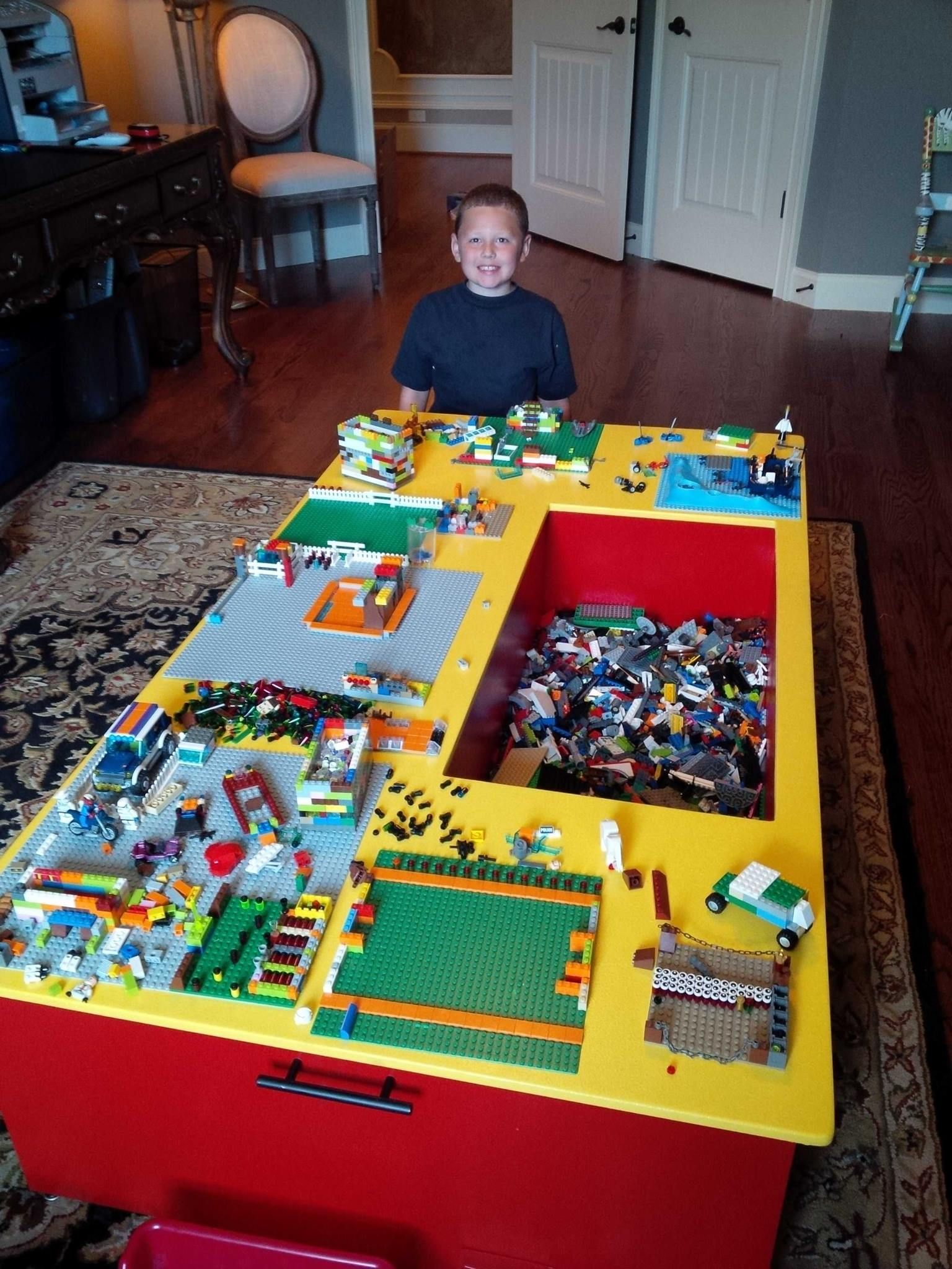 large kids table on this lego table has room for the large 18 base plates all the kids love and is open on the sides to store bins lego table diy lego table lego for kids lego table diy lego table