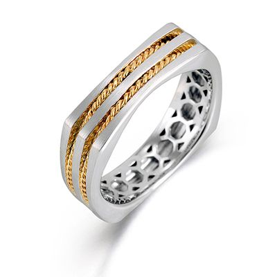 Men's Collection - This impressive 14K white and yellow mens band is comprised of a contrast of hues.   - MR2098