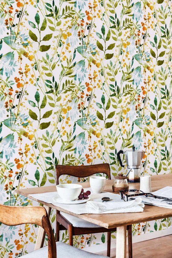 Boho Floral Removable Wallpaper Watercolor Leaves