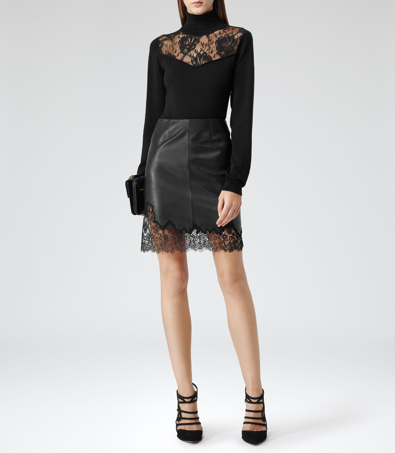 Reiss Lana Women's Black Lace Trim Leather Skirt | My Style ...