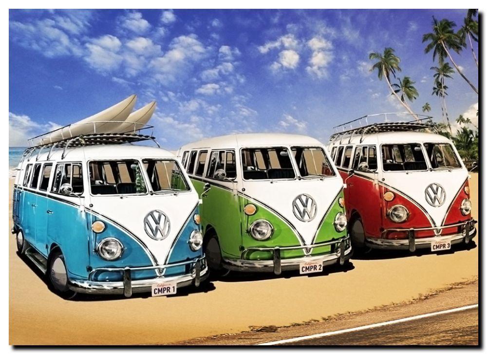 "VW COMBI QUALITY CANVAS ART PRINT Poster 12x8/"" KOMBI CAMPER POP ART"