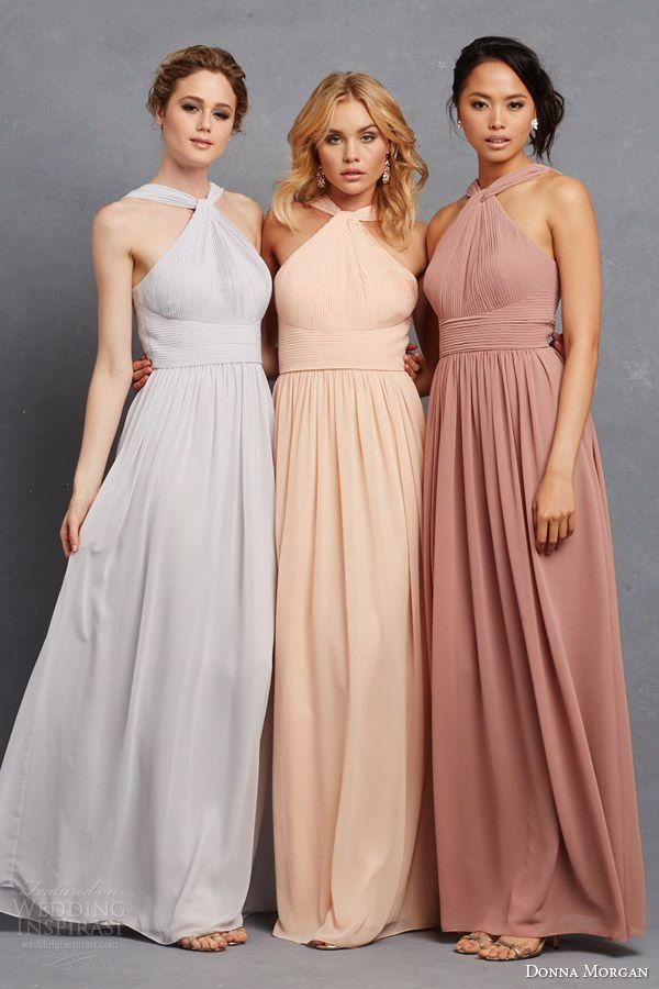 a3f198e7e653 donna morgan bridesmaid dresss in neutral pastel shades grey peach pink  blush