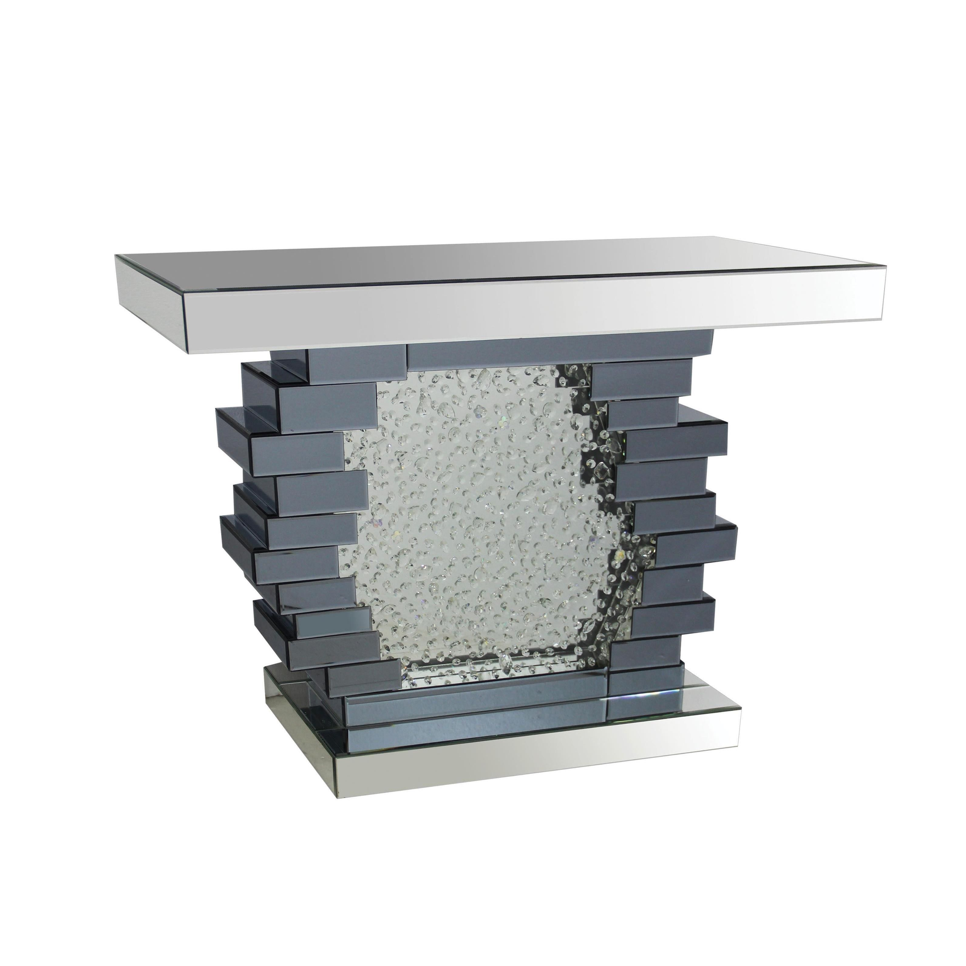 acme furniture nubia mirrored console table console table mirrored