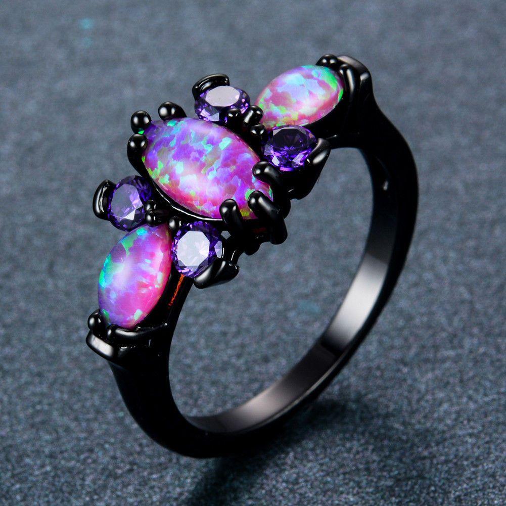 Women Black Gold Butterfly Purple Fire Opal Wedding Ring