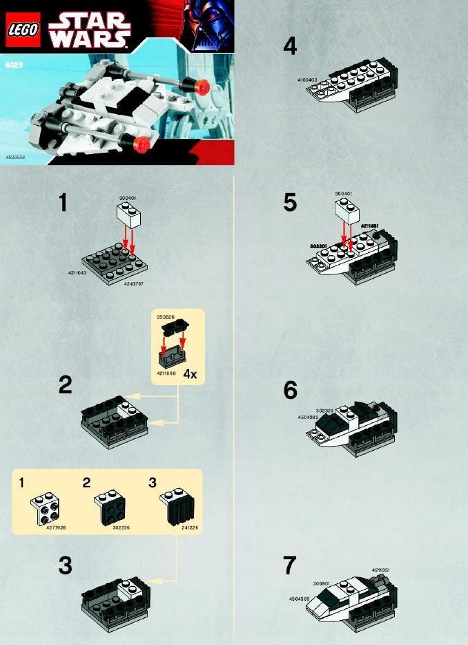 Lego mini tie-fighter instructions 8028, star wars mini.