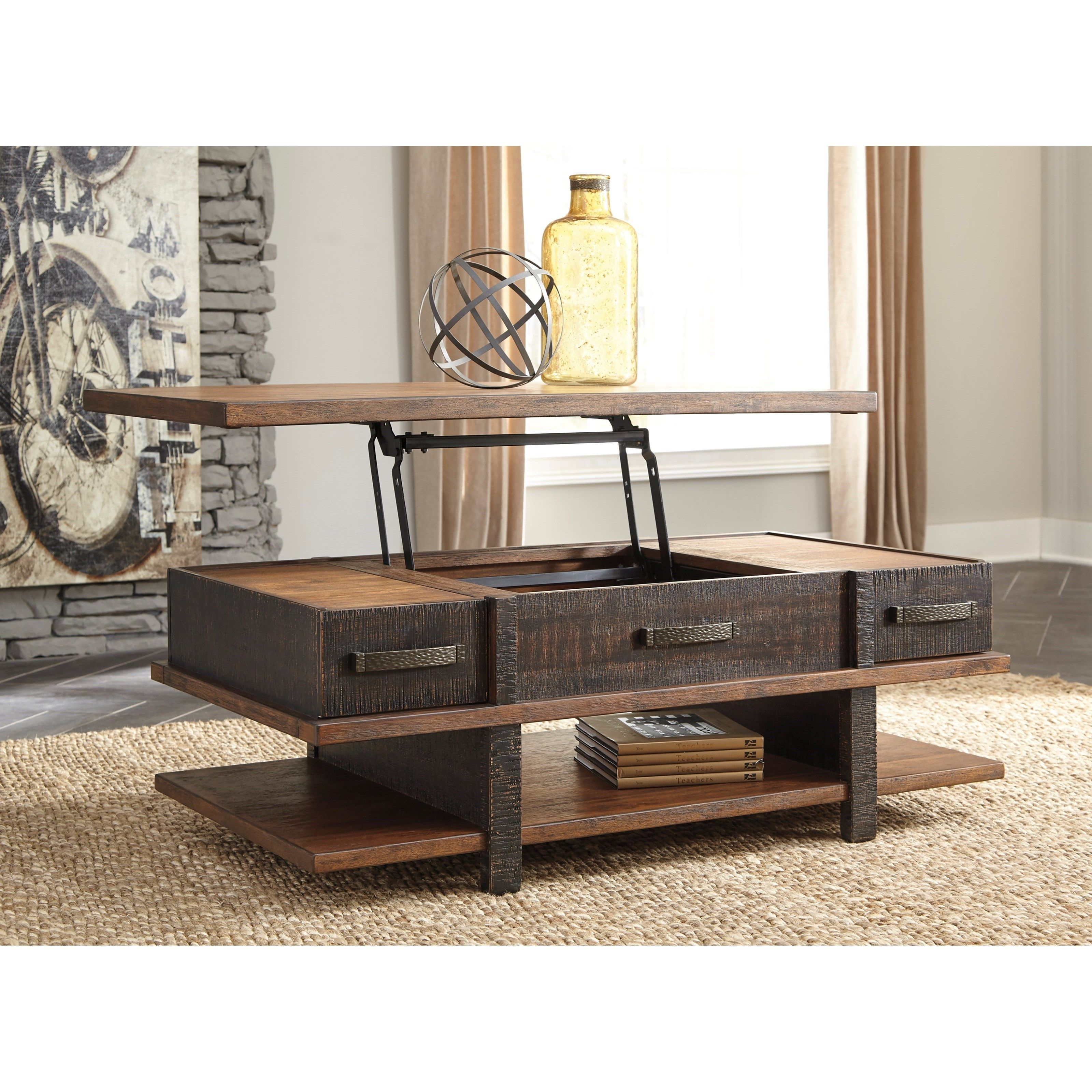 Lift Top Cocktail Table With 2 Drawers And Shelf Coffee Table Lift Top Coffee Table Coffee Table With Storage [ 3200 x 3200 Pixel ]