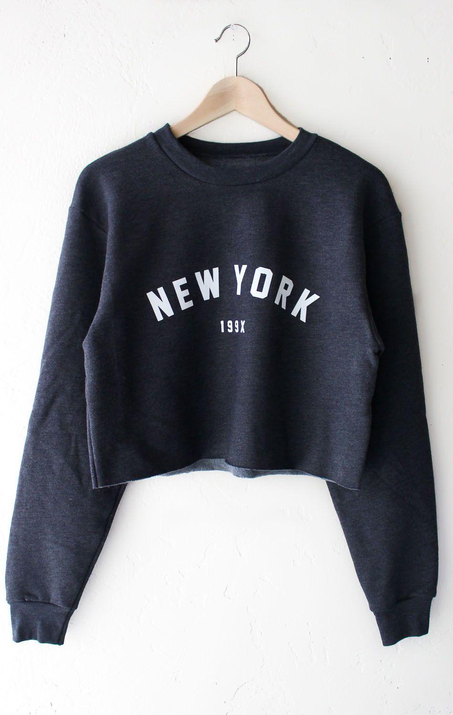 New York 199x Cropped Oversized Sweatshirt - Dark Heather Grey ...