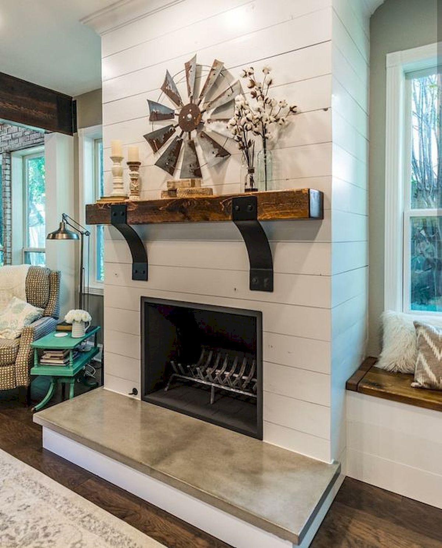40 best modern farmhouse fireplace mantel decor ideas 1