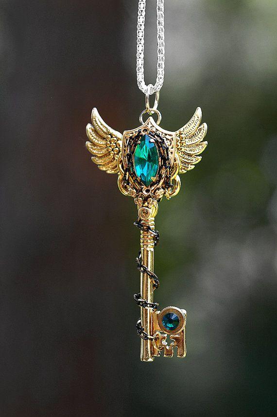 Shield of Emerald Guardian Key Necklace by KeypersCove on Etsy, $45.00