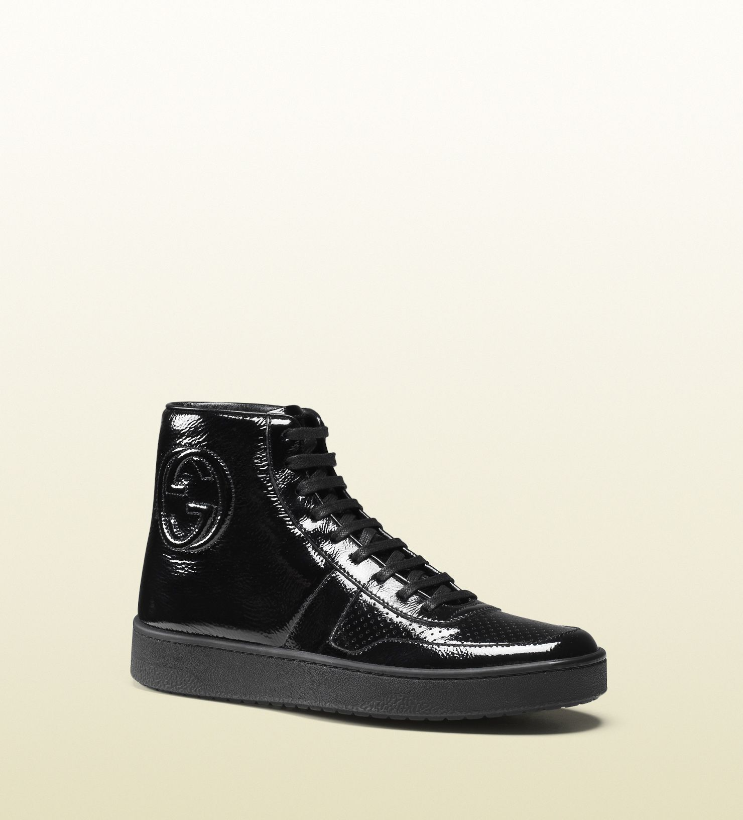 soft patent leather high-top sneaker
