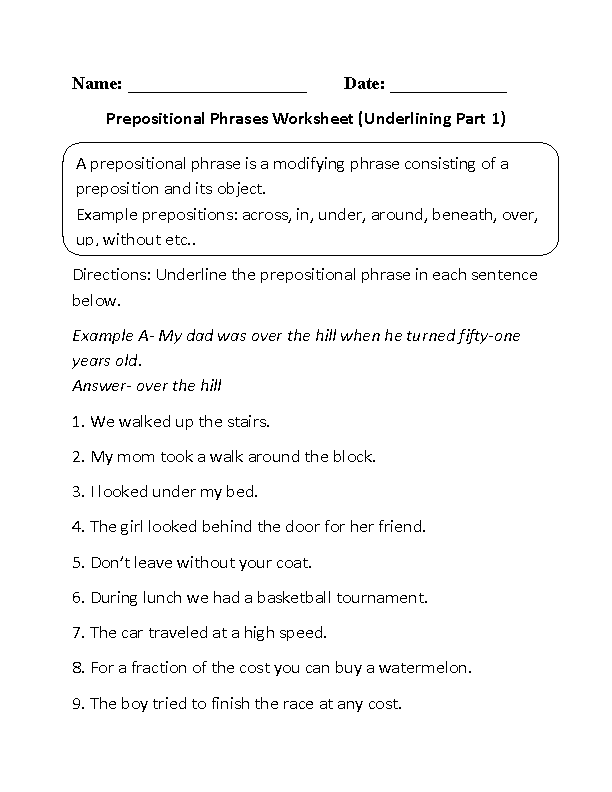 Printable Worksheets worksheets on prepositions for grade 1 : Underlining Prepositional Phrase Worksheets Part 1 | Prepositions ...