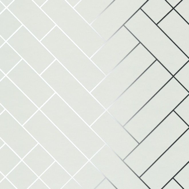 Tapet cafe tile geometric metallic wallpaper by erica wakerly
