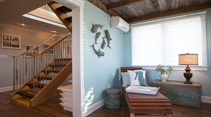 Sherwin-Williams Comfort Grey and Watery Beach and Cottage Decor