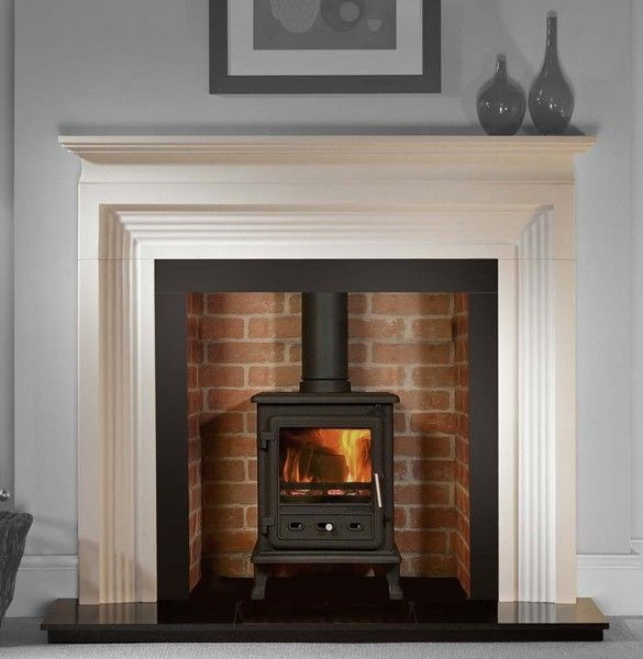 Brick lining to chimney black hearth layered wood