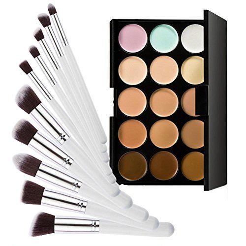 15 Colors Contour Cream Makeup Concealer Palette+10pcs Brush White Silver Feature: 100% Brand new and high quality Quantity:15 colors Concealer Palette+10pcs Brush White Silver Made of excellent...
