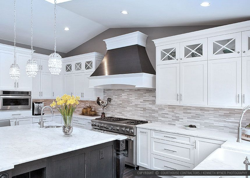White gray cabinet marble countertop marble subway kitchen for White kitchen cabinets what color backsplash