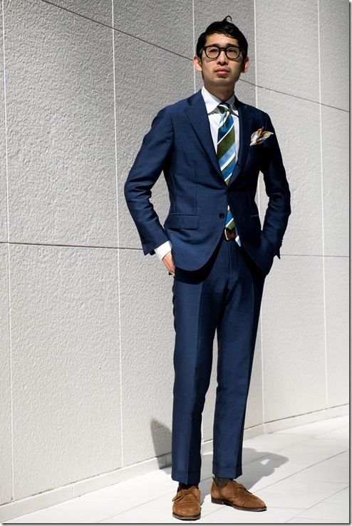 Navy suit, green and blue tie, suede