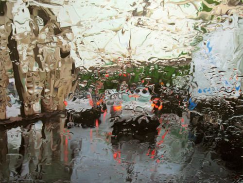 """Gregory Thielker captures the beauty of rain in his photorealistic oil painting series entitled """"Under the Unminding Sky""""."""
