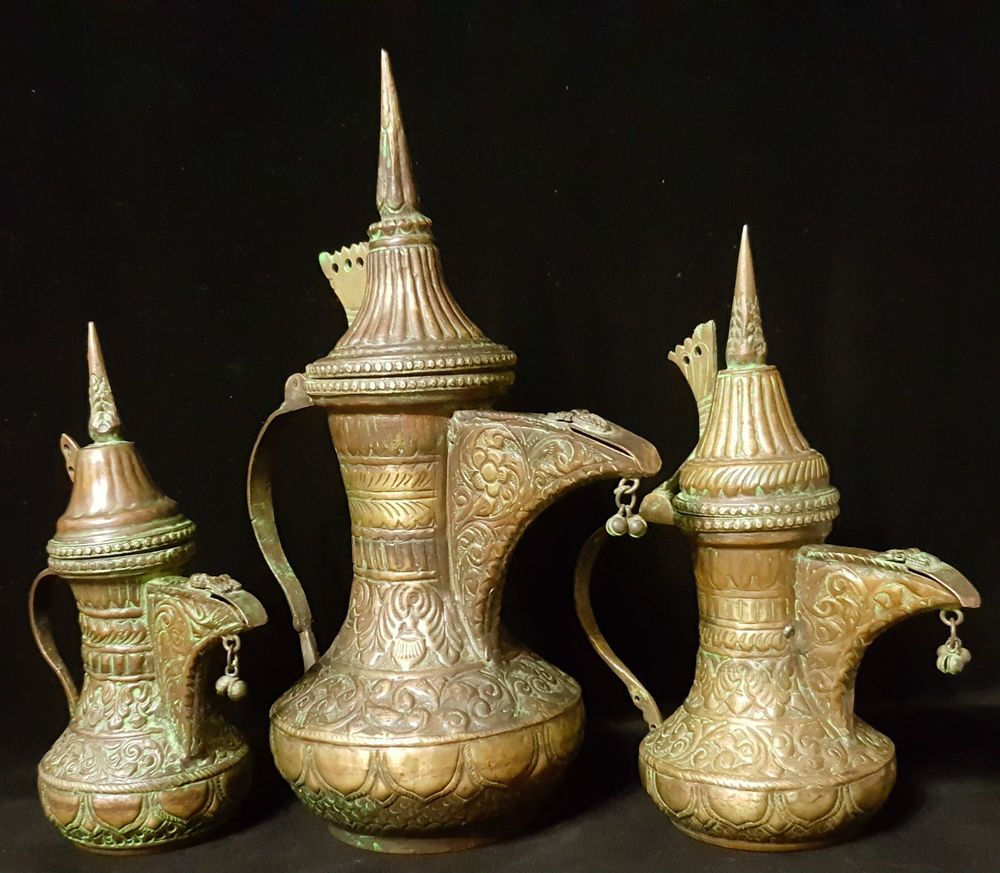 ANTIQUE ISLAMIC ARABIC OMAN BRASS COFFEE POT SET OF 3 DALLAH MIDDLE EASTERN | Antiques, Rare antique, Coffee pot