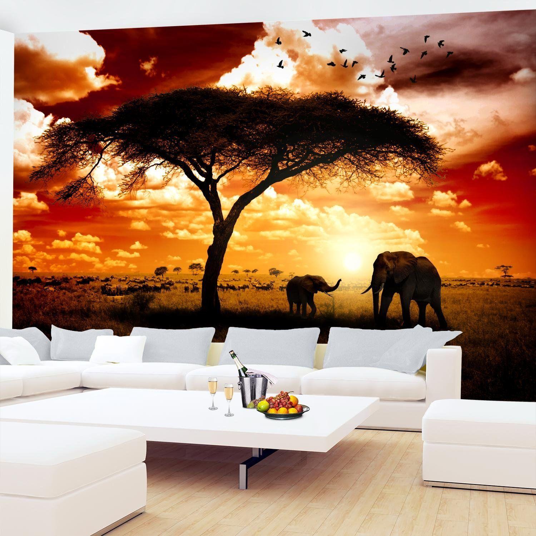 Fototapete afrika elefanten 396 x 280 cm vlies wand tapete wohnzimmer schlafzimmer b ro flur - Dekoration afrika style ...