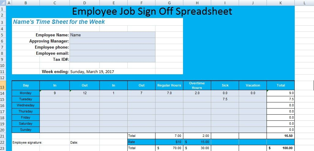Get Employee Job Sign Off Spreadsheet Template \u2013 Excel Spreadsheet - excel job sheet template