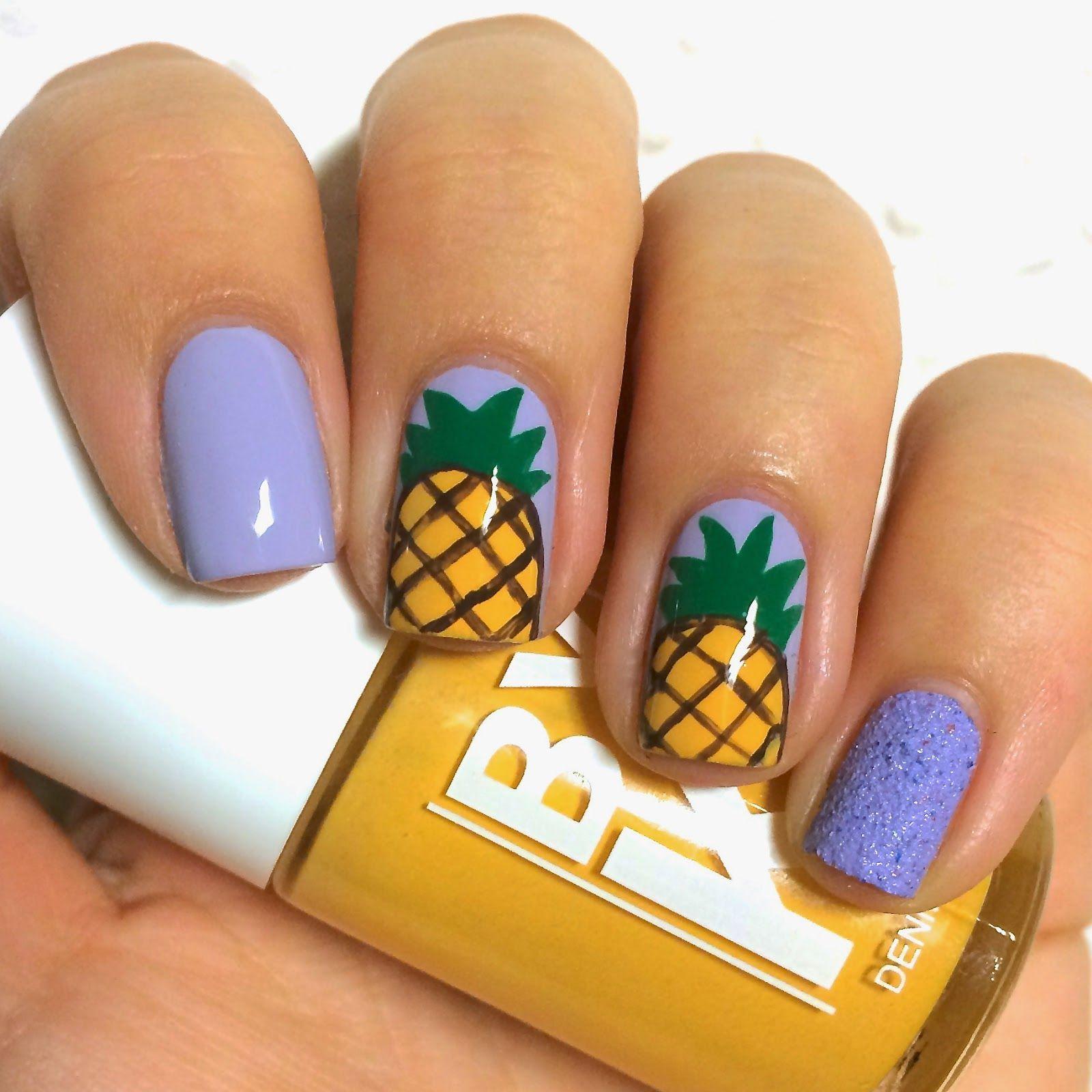 Art Purple Pineapple Fruit Nail Art 37 Fresh And Tasty Fruit Nail ...