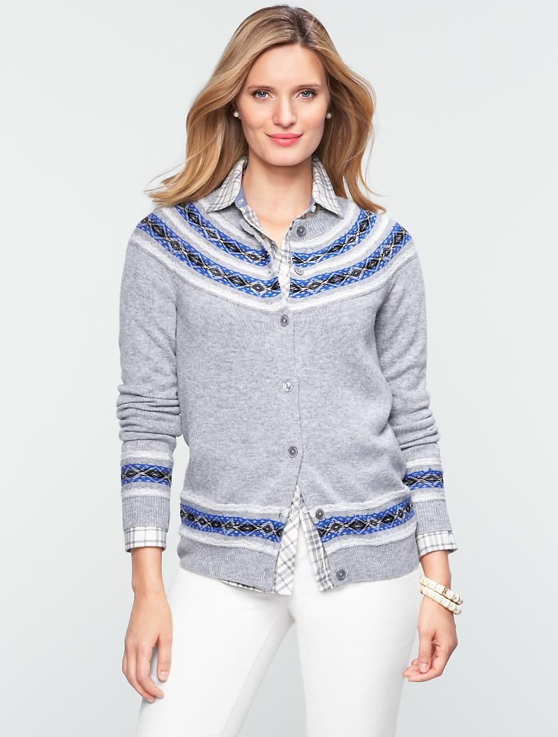 Talbots - Cozy Fair Isle Stripe Charming Cardigan | Sweaters ...