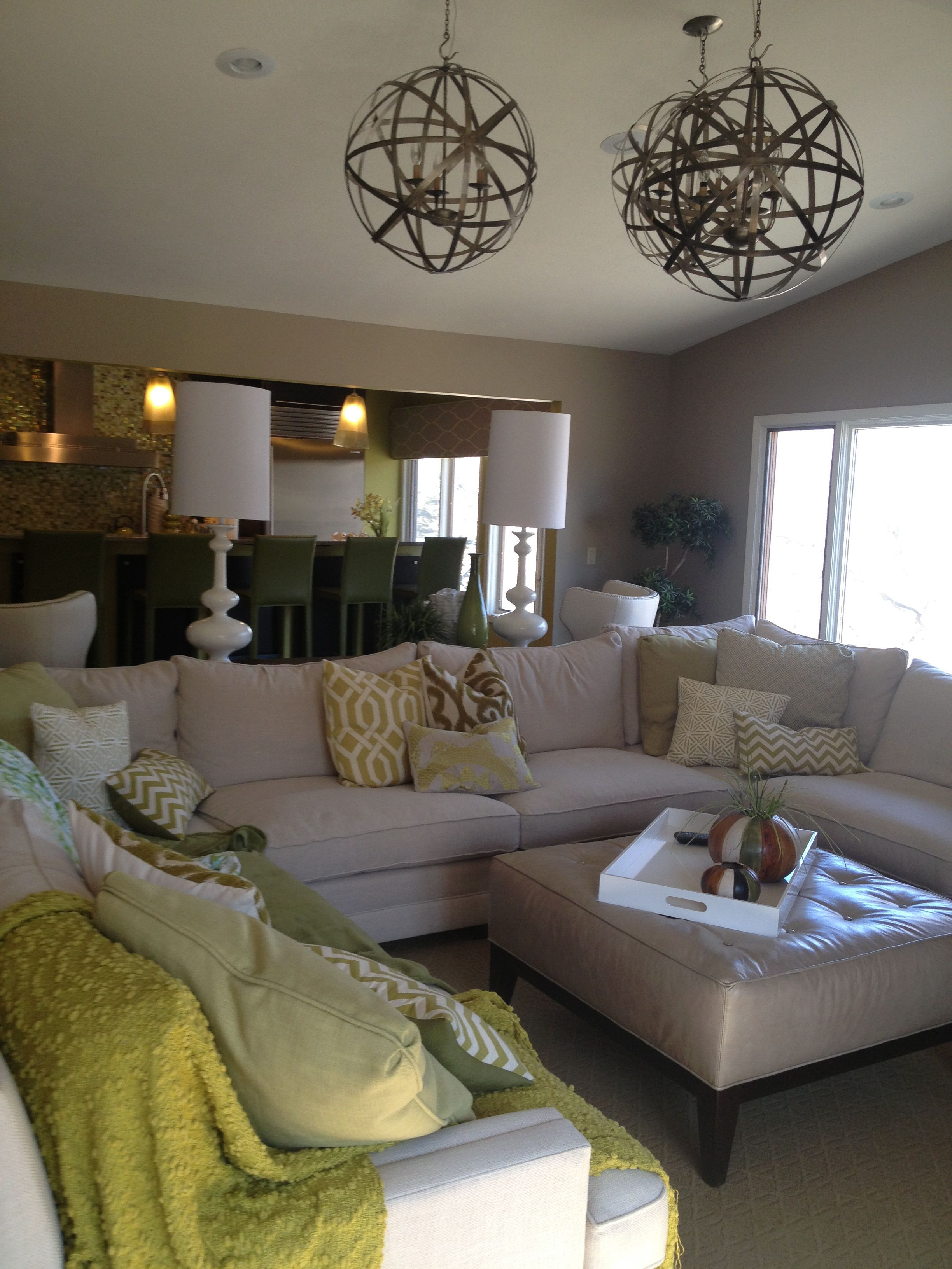 Light Family Room Sectional Like colors light fixtures layout