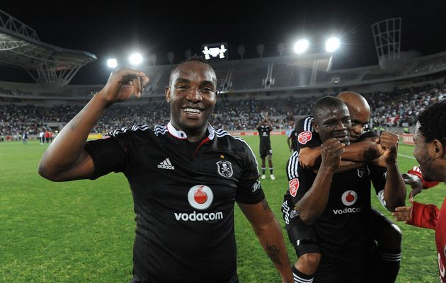 Benni McCarthy and Lucky Lekgwathi of Pirates celebrate the win | http://www.sportlive.co.za