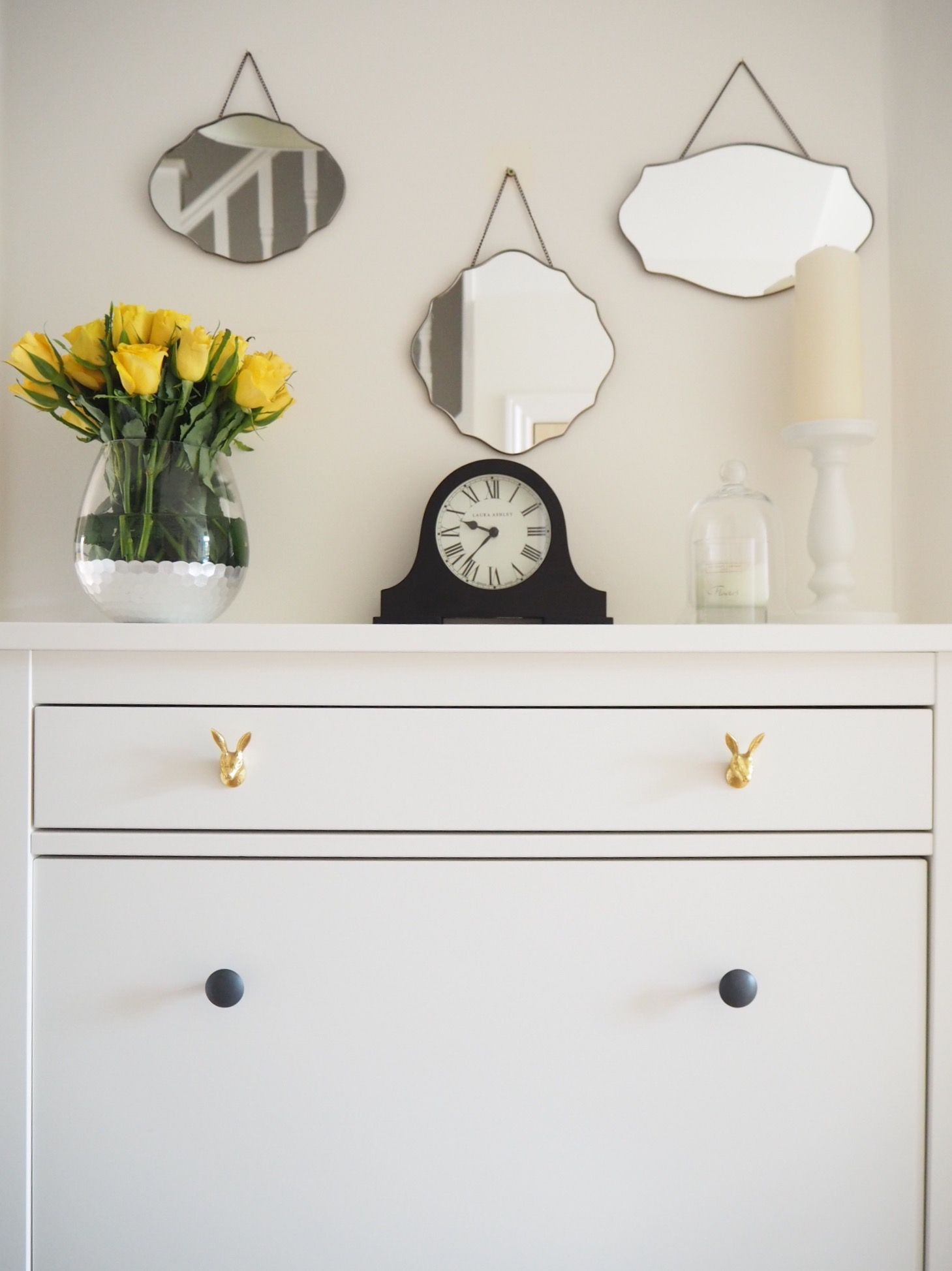 Ikea Hack Replace The Drawer Handles On An Hemnes Shoe Cupboard With Luxurious Looking Gold Pulls To Give It A Luxe Look See More Budget Tips