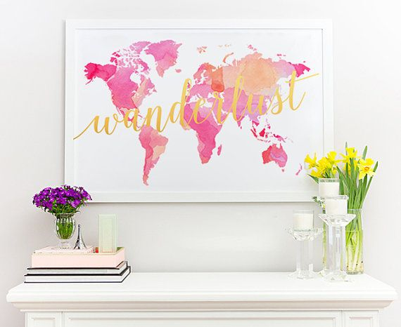 Large watercolor world map poster art print instant download large watercolor world map poster art print by decorartdesign gumiabroncs Gallery