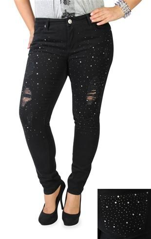 plus size reign destructed rhinestone skinny jeans