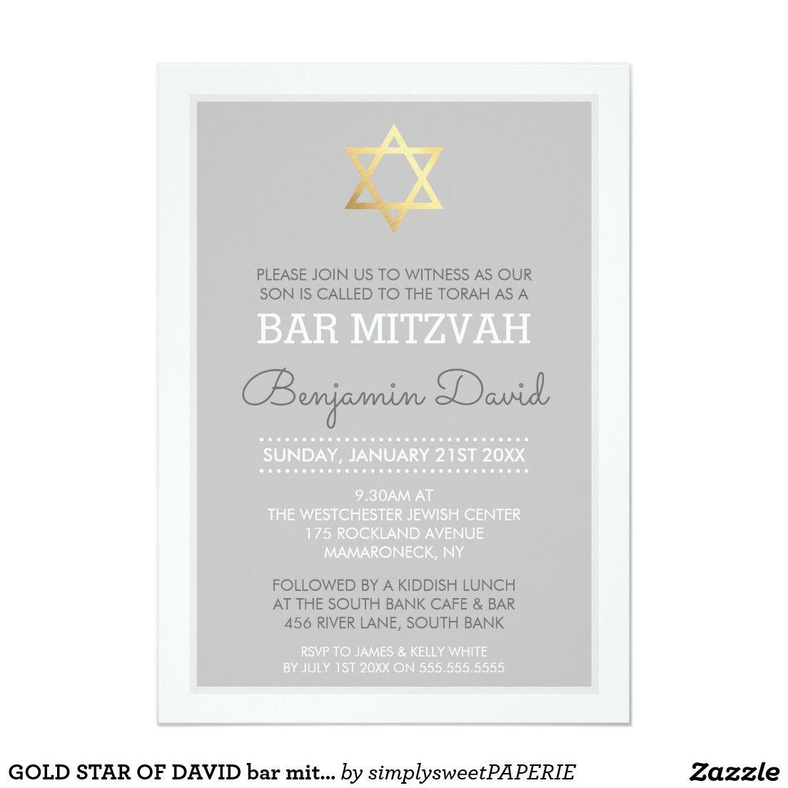 GOLD STAR OF DAVID bar mitzvah modern simple grey Card   Coleman Bar ...