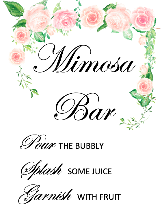 graphic relating to Mimosa Bar Sign Printable known as Bridal Shower Mimosa Bar Indication PRINTABLE Bridal Shower