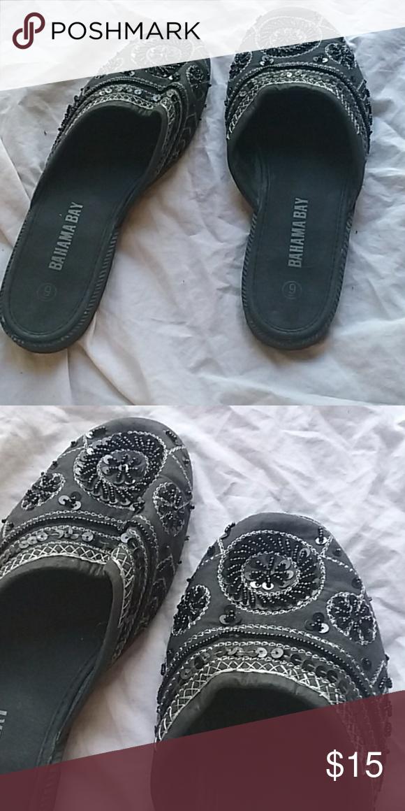 82d0b9bfe51 Bahama Bay Beaded Slip On Shoes Barely Used Bahama Bay Black beaded ...