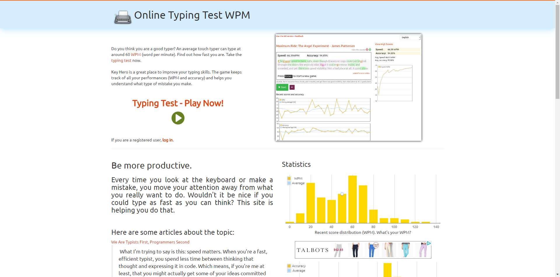 Typing Test · Improve your WPM speed | computer | Improve yourself