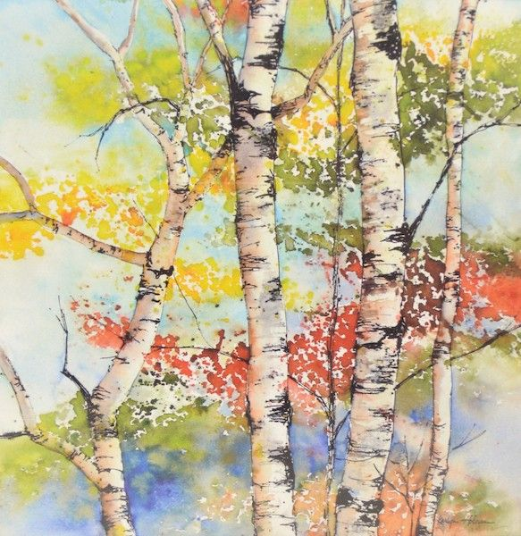 Print Of A Watercolor Painting Fall Aspen Trees Painting