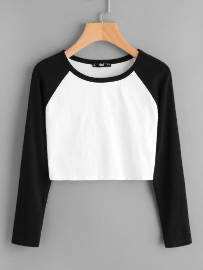 4faf8f7659 Two Tone Raglan Sleeve Crop Tee -SheIn(Sheinside) | OUTFITS/clothing ...