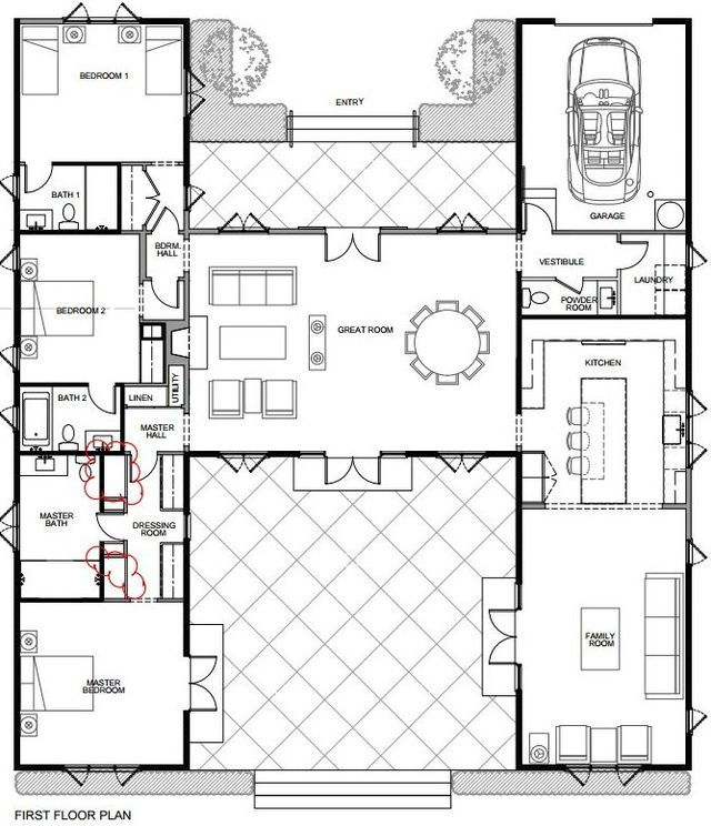 For Sale An H Shaped House Designed By Wendy Posard Hooked On Houses House Plans One Story U Shaped House Plans Courtyard House Plans