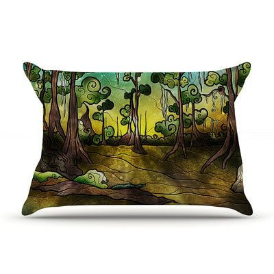 KESS InHouse Aligator Swamp by Mandie Manzano Featherweight Pillow Sham Size: Queen, Fabric: Woven Polyester