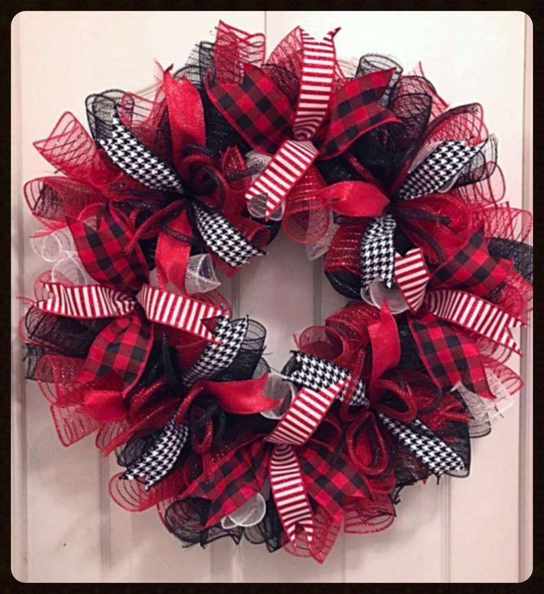 Photo of Buffalo Red and Black Eberyday Deco Mesh Wreath/Buffalo Wreath/Red snd Black Wreath/Everyday Wreath